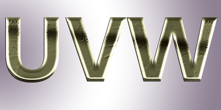 Letters from old metal (U,V, W). Stock Photo