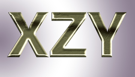 fount: Letters from old metal (X,Z,Y).