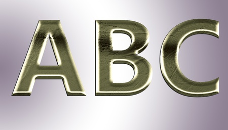 Letters from old metal (A,B,C). Stock Photo