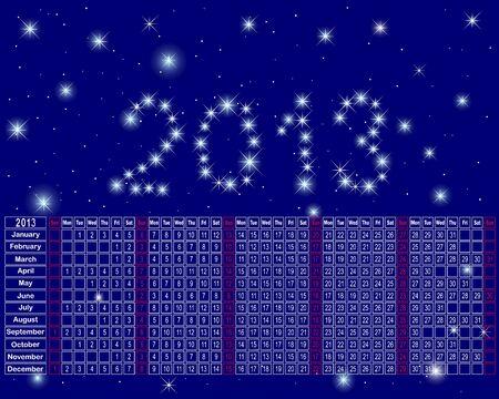 Calendar, 2013 made from glittering stars against the night sky. Stock Vector - 15889751