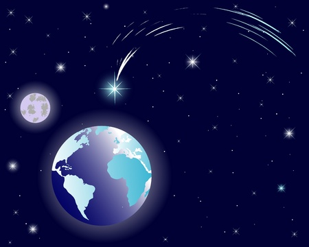 The shining Star of Bethlehem on night sky with earth and moon. Illustration