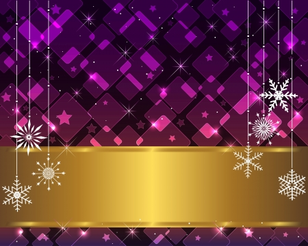 Christmas card with golden banner, transparent rhombs and snowflakes.  Vector
