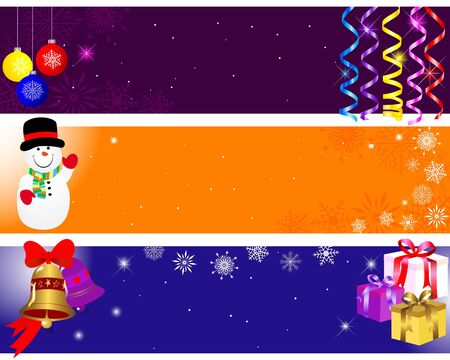 Christmas and new year banners with paper streamer, gifts and balls.  Stock Vector - 15889786