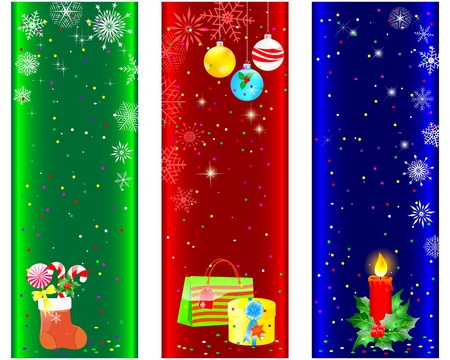 Christmas and new year banners with red candle, gifts and balls.  Stock Vector - 15889799