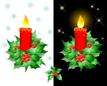 Christmas candles with holly on white and black background. Vector