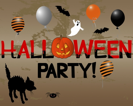 Halloween Party with pumpkin on the grunge background.  Vector