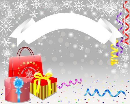 emplate: Christmas card with banner, gifts, package and paper streamers Illustration