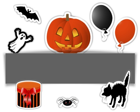 Halloween stickers. Banner with pumpkin, gift and other symbols of the holiday Vector