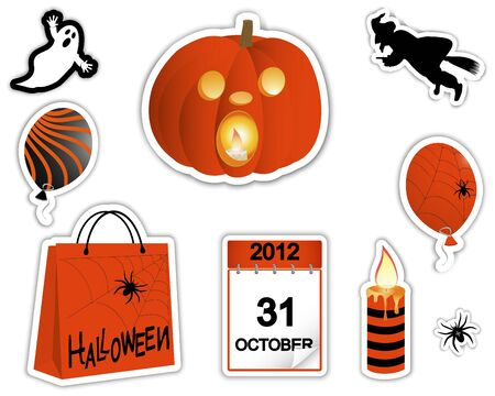 Sticker pumpkin with a burning candle, the ghost, witch and other symbols of the holiday Vector
