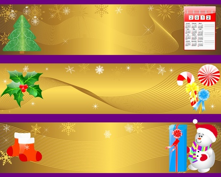 Christmas and new year banners with icon calendar, gifts and snowman Stock Vector - 16001791