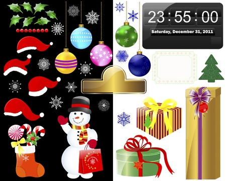 New year and Christmas icons on white and black Vector