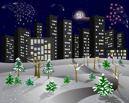 snow covered: City in the winter night with fireworks and snow-covered trees. 8 EPS. Vector illustration.