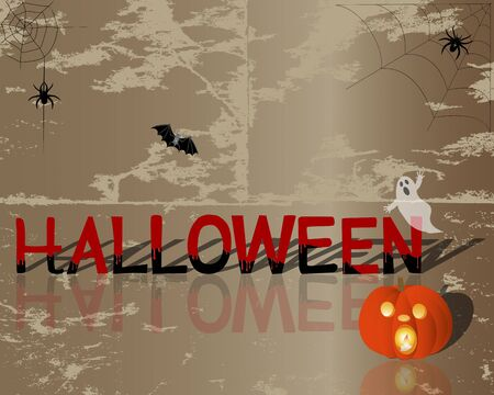 Halloween is painted with blood, pumpkin with a candle inside and other symbols on grunge background. Vector illustration. Vector