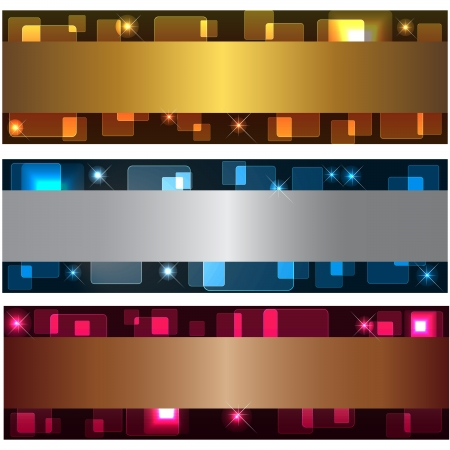 Set banners with transparent squares and stars Vector