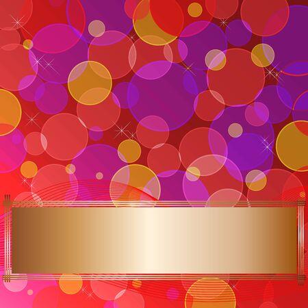 10eps: Golden banner on the background transparent circles. 10eps vector. Illustration