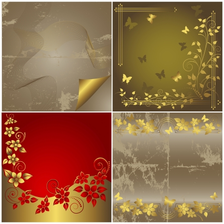Set abstract background. (grunge paper; floral) Vector.