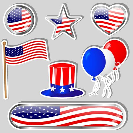 Collection of Independence day stickers. eps10. Vector. Vector