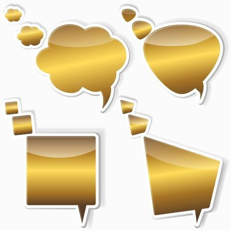 10eps: Set of golden stickers from speech bubbles. 10EPS. vector. Illustration