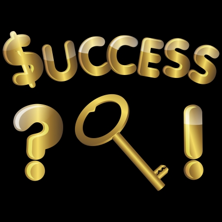 Gold key to success with question mark and exclamation mark. vector. Stock Vector - 16002138