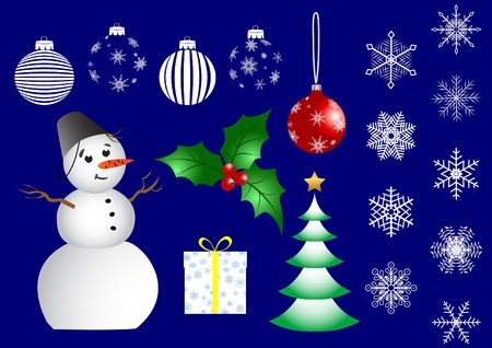 Set of christmas icons on blue background. vector. Vector