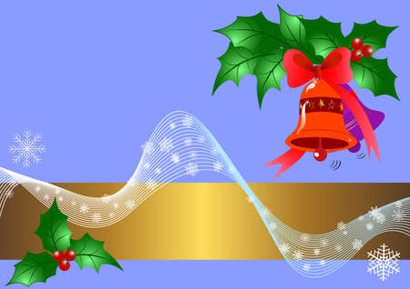 Christmas banner with bells and holly Vector
