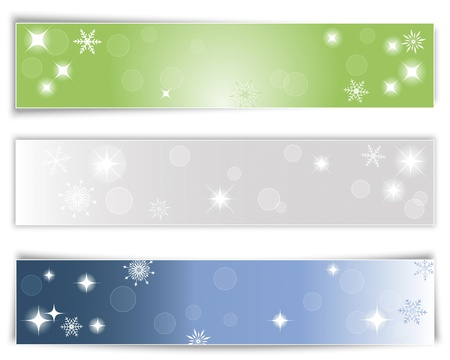 holiday border: Set of three horizontal Christmas banners with different shadows. Vector illustration.