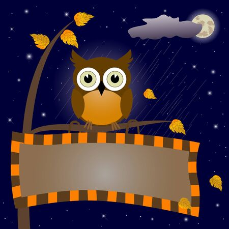 raincloud: Owl sit on a branch with a signboard against the night sky. Vector illustration.