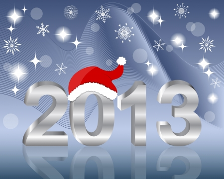 3D silver number 2013 with Santas hat. 10EPS. Vector illustration. Vector