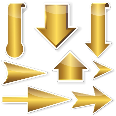Set of golden stickers from arrows. illustration.