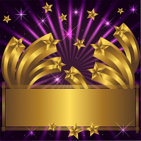 entertainment: Holiday background with gold retro stars and a banner.  Illustration