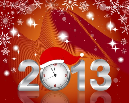 New Years card. Silver 2013 with clock in Santas hat, and snowflakes.  illustration. Vector