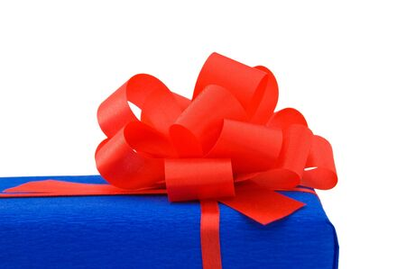 Blue gift with red bow. Stock Photo - 16358109