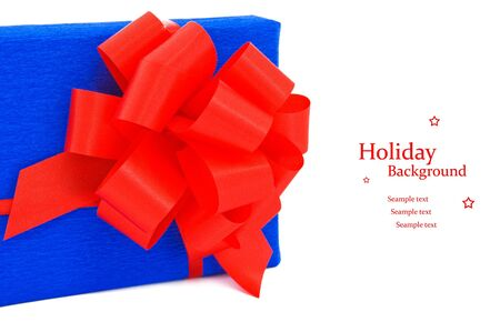 Blue gift with red bow. Stock Photo - 16358160