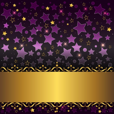 curlicues: Gold banner with curlicues on stars background
