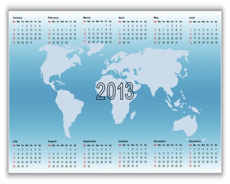 Calendar 2013 on banners with map. American style.  Vector
