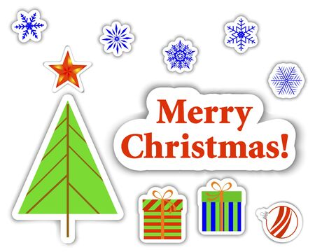 Set of Christmas stickers with banner, christmas tree and gifts.  Vector