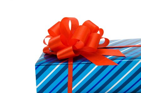 Blue gift with red bow Stock Photo - 16448374
