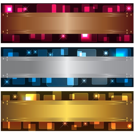 silver texture: Set banners with transparent squares and design elements. 10eps vector.