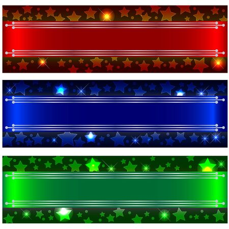 Set banners with bokeh stars and design elements. 10eps vector. Vector