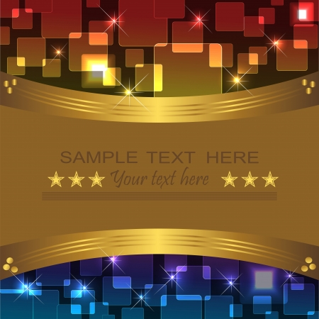 Bright, holiday background with a gold banner. Vector.