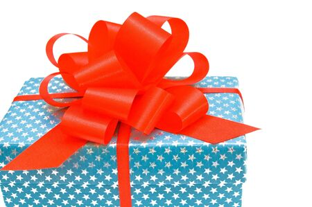 Gift with red bow isolated on white. Stock Photo - 16485445