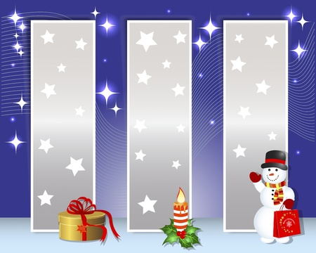 snowball: Christmas and new year billboards with snowman, candle and gift. Vector illustration.