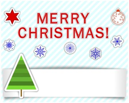 Set of Christmas stickers with empty banner, christmas tree and gift. Vector illustration. Vector