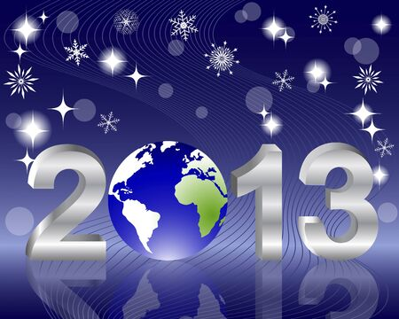 3d 2013 New Year with globe and reflection on the holiday background. Vector illustration. Vector