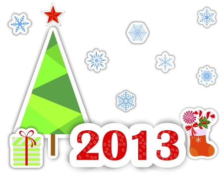 New Year 2013 stickers with christmas tree, snowflakes and gift. Vector illustration. Stock Vector - 16537897
