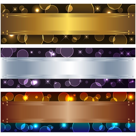 Set banners with boke and design elements. 10eps vector. Vector