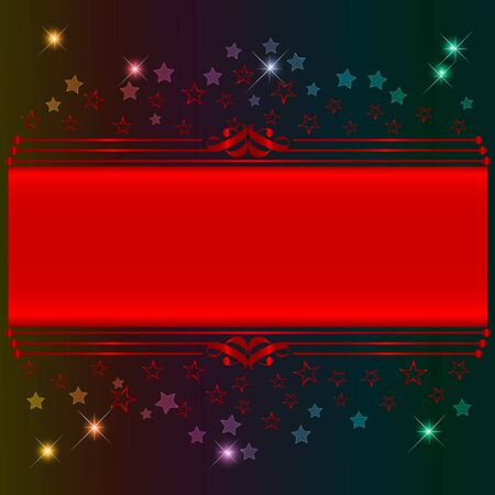 10eps: Red banner with bokeh stars and design elements. 10eps vector. Illustration
