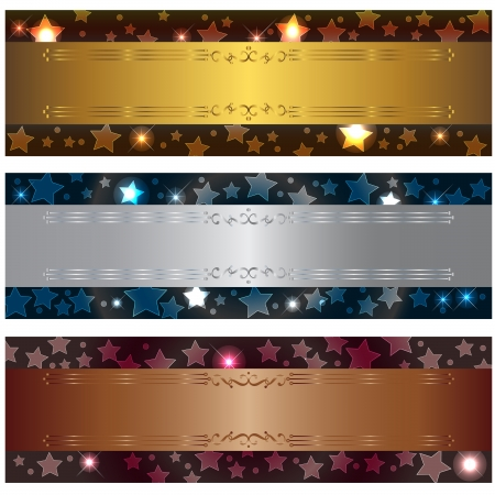 bronze texture: Set banners with bokeh stars and design elements.  Illustration