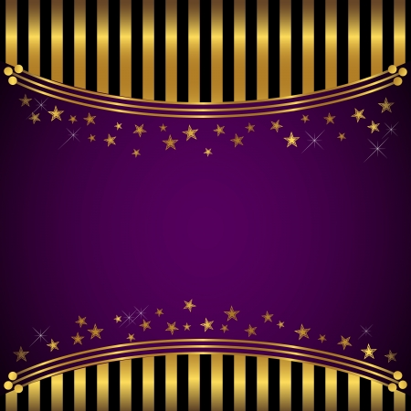 Golden striped background with banner and stars