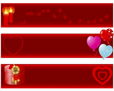 candle flame:  Valentine s day banners with a ornate elements  gift, candles, balloons, hearts   illustration